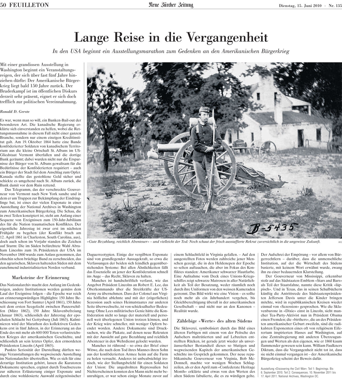 This story on Discovering the Civil War appeared on the front cover of the Culture section of Switzerland's largest newspaper