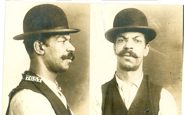 """Charles Davis, #7657. Davis was sentenced to three years for housebreaking in 1911. When asked about his crime, he replied, """"I was charged with breaking a pane of glass in the Levi's store in Washington, D.C. and taking a suit of clothes to which I pleaded not guilty. I was drunk at the time this crime was committed and was not aware I had committed a crime."""" RG 129, National Archives at Kansas City."""