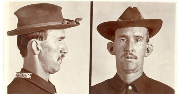 """Charles H. Miller, #4852. Sentenced to three years for embezzlement and fraud in 1905, Mr. Miller was admitted to the jail hospital upon arrival at Leavenworth for """"suffering with tertiary syphilis, numbness of left leg and foot from above the knee down, stuffiness of left knee, syphilitic ulcerations on tongue and in throat, and severe disease of the heart."""" The doctor asked to have him released so he did not get anyone else sick and was denied. RG 129, National Archives at Kansas City."""