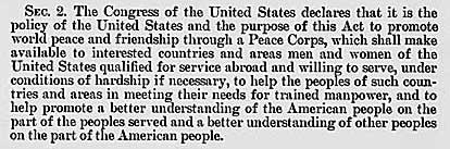 Public Law blah, establishing the Peace Corps