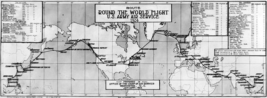 The proposed route for the Army's 1924 Round-the-World Flight. (342-FH-3B-7965011279AS)