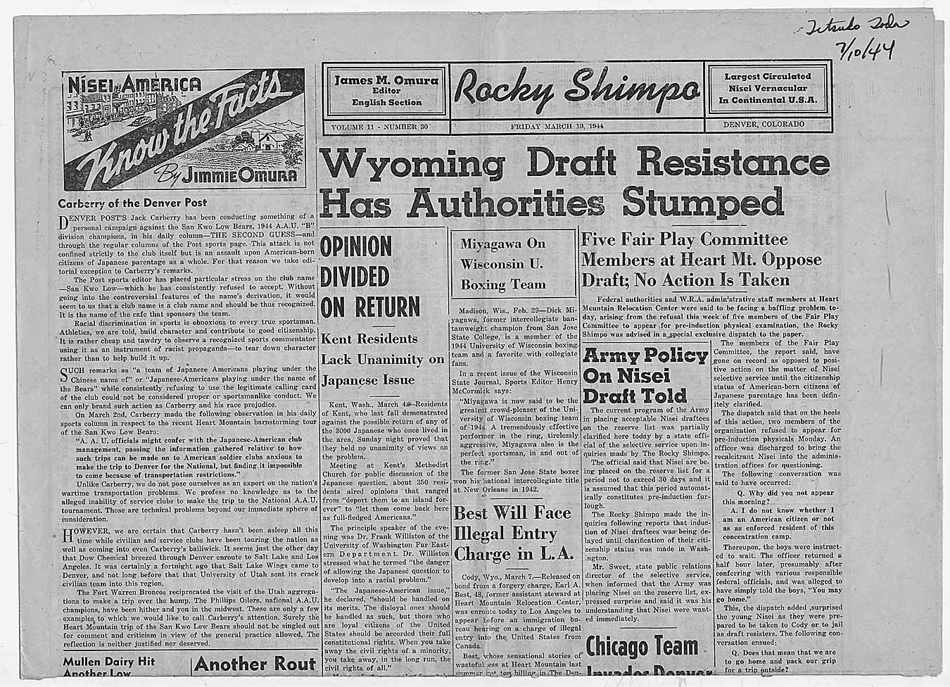 "Newspaper article from Rocky Shimpo: ""Wyoming Draft Resistance Has Authorities Stumped"", 03/10/1944 (ARC 292810)"