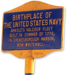 """Sign advertising Whitehall, New York, as the """"birthplace of the United States Navy"""" (Whitehall Chamber of Commerce)"""