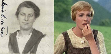 Maria von Trapp, photograph from her Declaration of Intention, dated January 21, 1944. Pictured right is Julie Andrews who played Maria in the Sound of Music (Records of District Courts of the United States, RG 21. United Artists)