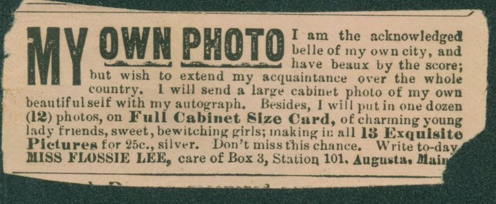 """An advertisement for pictures of Flossie's """"charming young lady friends."""" This ad appeared in the National Police Gazette. Record Group 118, Records of the US Marshal"""