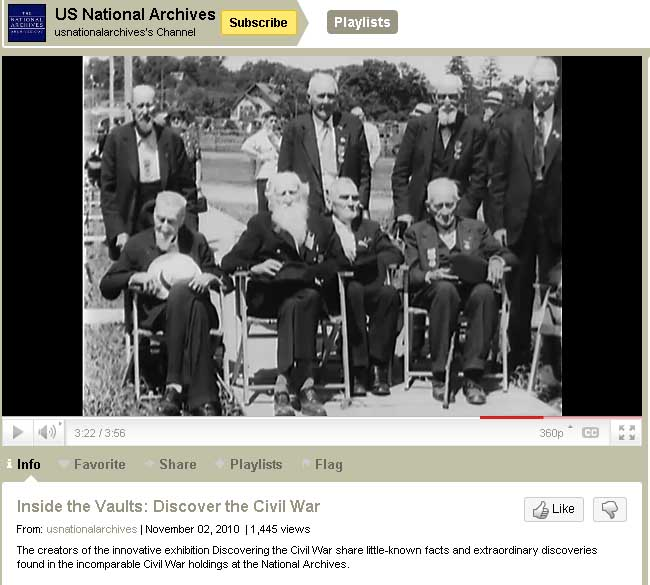 """Civil War veterans at the Blue and Grey Reunion. This is a screen from the """"Inside the Vaults"""" video short."""
