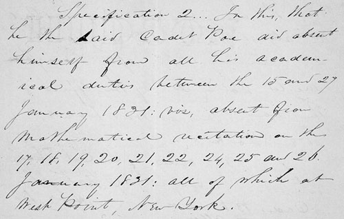 Selection from the court-martial trial case file of Edgar Allen Poe. (Records of U.S. Army Continental Commands, 1821-1920, RG 393; ARC 301660)