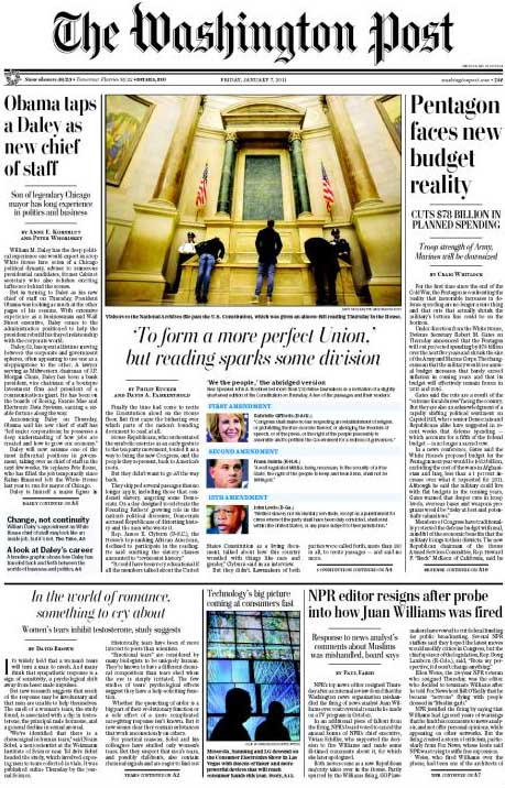 Visitors to the Rotunda in the National Archives look down at the Constitution. Image of front page from the Washington Post website.