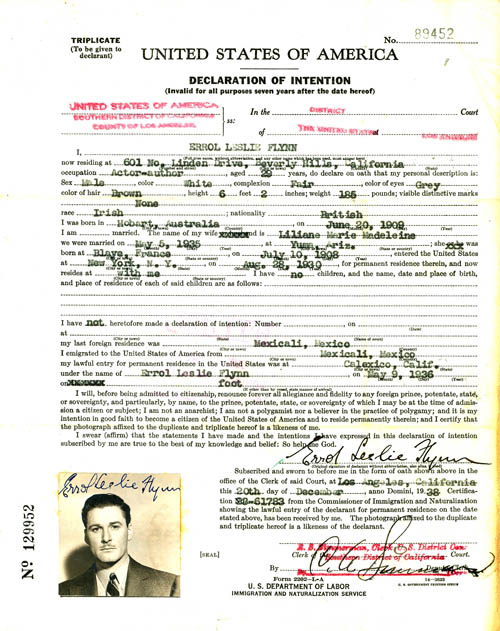Declaration of intent of Errol Flynn (021-05-011)