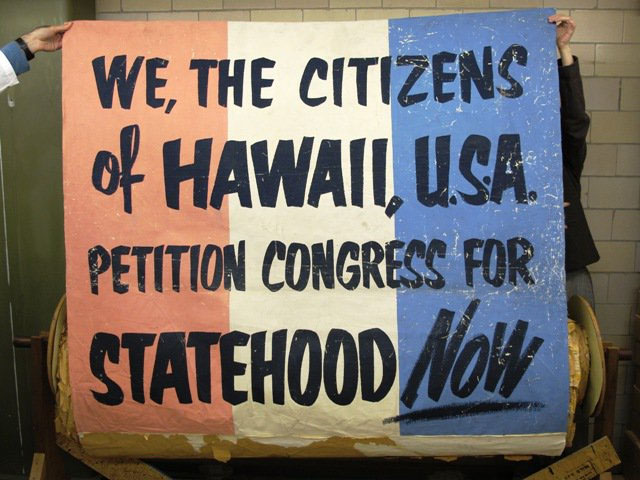Petition signed by 116,000 supporters of Hawaii statehood, presented to the U.S. Senate on February 26, 1954.