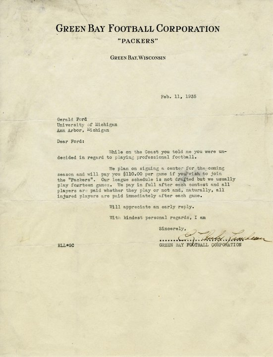 Letter from the Green Bay Packers to Gerald Ford (Gerald Ford Presidential Library)