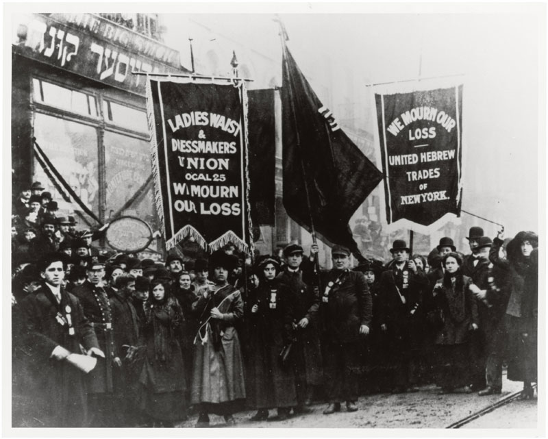 Demonstration of protest and mourning for Triangle Shirtwaist Factory fire of March 25, 1911, By an unknown photographer, New York City, New York, April 5, 1911; General Records of the Department of Labor; Record Group 174; National Archives.