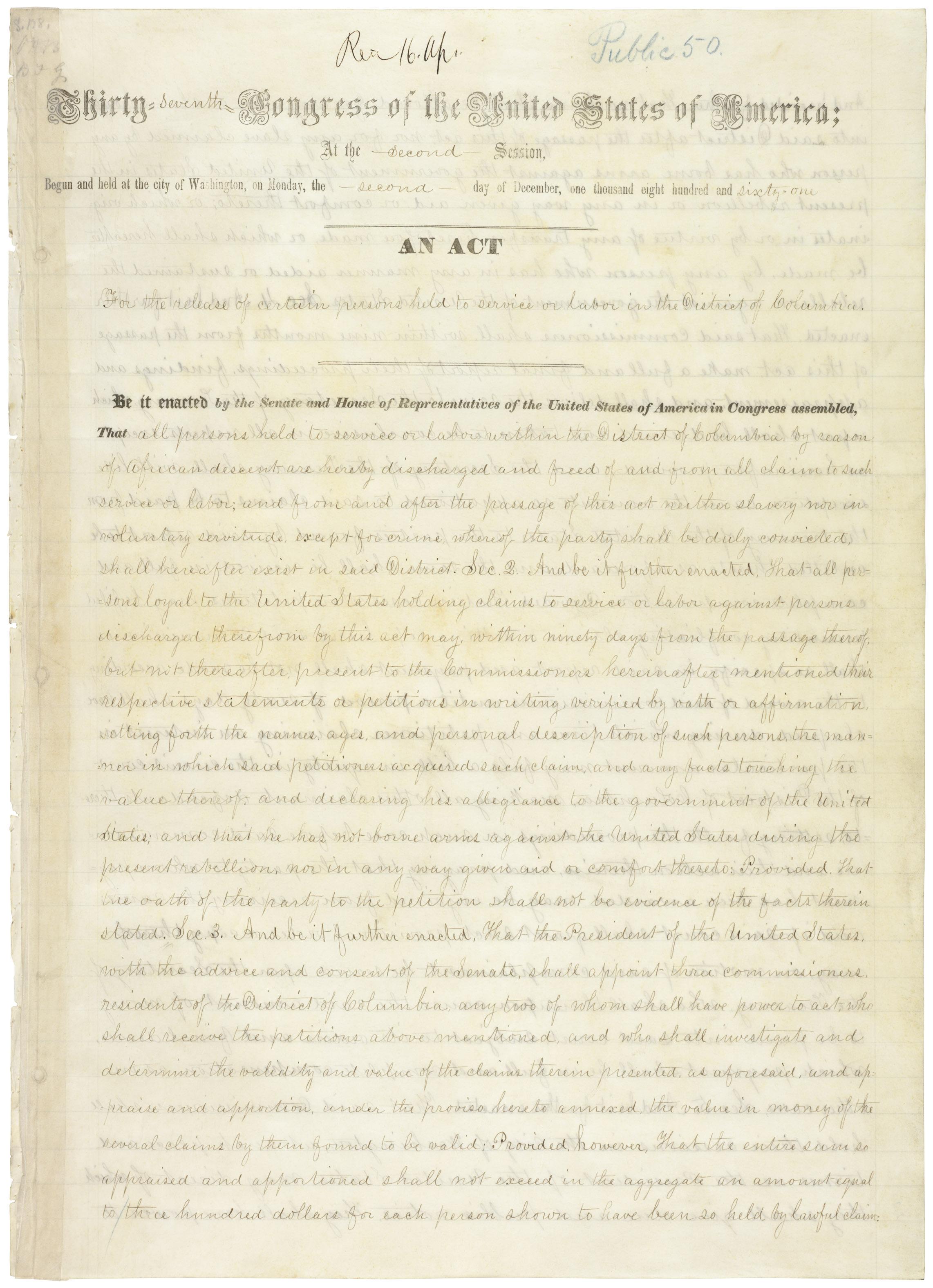 D.C. Emancipation Act, Public Law 37-50, April 16,1862