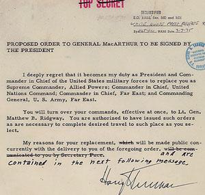 Proposed orders to dismiss Gen. Douglas MacArthur, April 11, 1951 (Truman Library; ARC 201516)