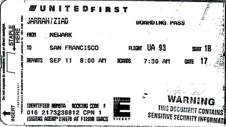 boarding pass for Ziad Jarrah