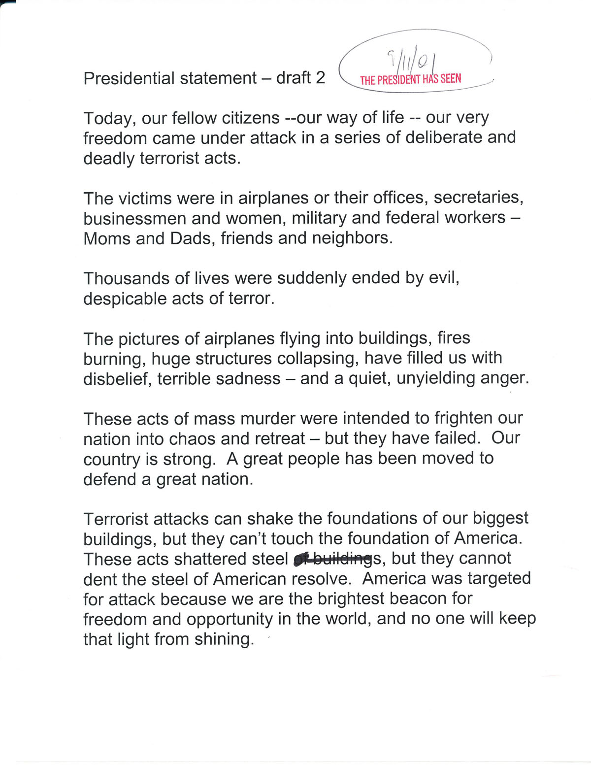 page 1 of Bush's 9/11 speech