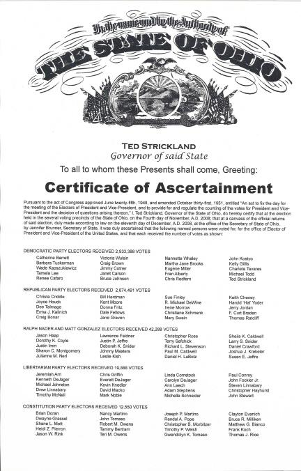 Ohio Certificate of Ascertainment