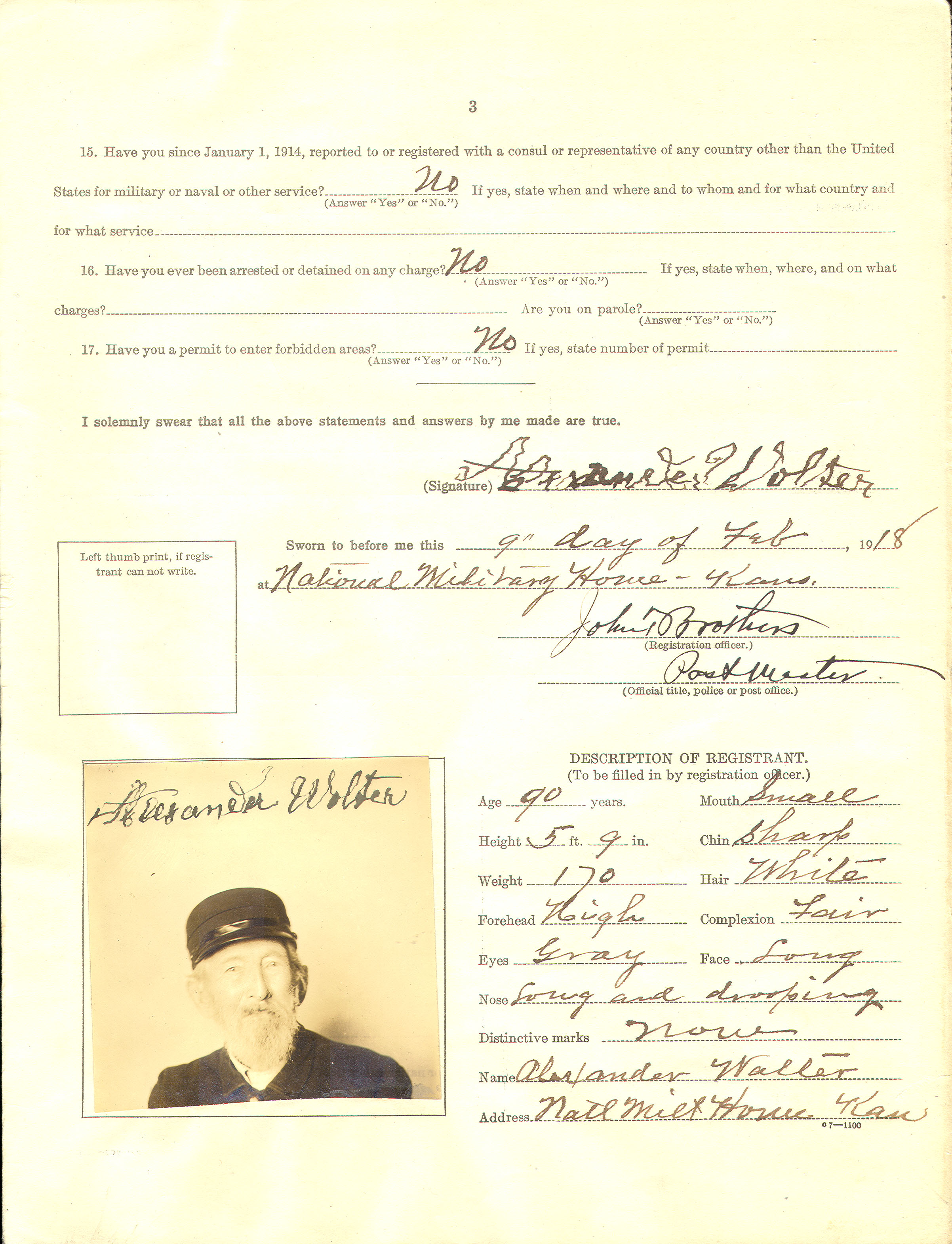 Alexander Walter was born May 18,1828, in Hanover, Germany. He was also a Civil War veteran who lived in the National Military Home in Leavenworth, KS. He had to fill out this registration form in 1918. (Page three of registration form, National Archives at Kansas City)