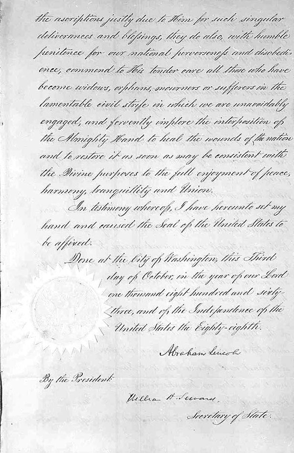 The third and final page of President  Lincoln's Thanksgiving Day Proclamation of October 3, 1863 (Presidential Proclamation 106)., 10/03/1863, Page 3 General Records of the United States Government, 1778 – 2006 [National Archives Identifier 299960]