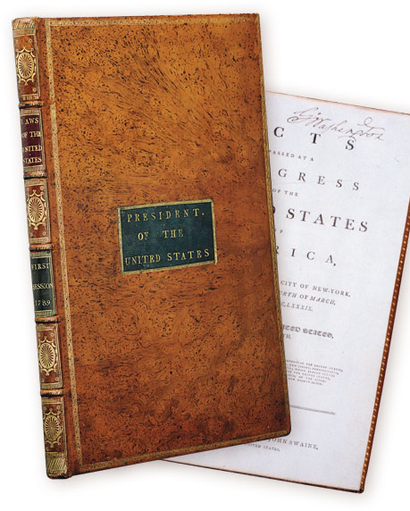 George Washington's personal copy of the Acts of Congress. His signature appears inside. Printed by Frances Childs and John Swaine and bound by Thomas Allen in 1789. Courtesy of the Mount Vernon Ladies' Association.
