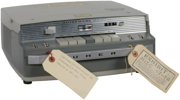 """This item is a tape recorder that was operated by President Richard Nixon's White House secretary Rosemary Woods as part of the Nixon White House taping system. Wood used this recorder to create the tape of June 20, 1970, containing the infamous """"18 1/2 minute gap."""""""