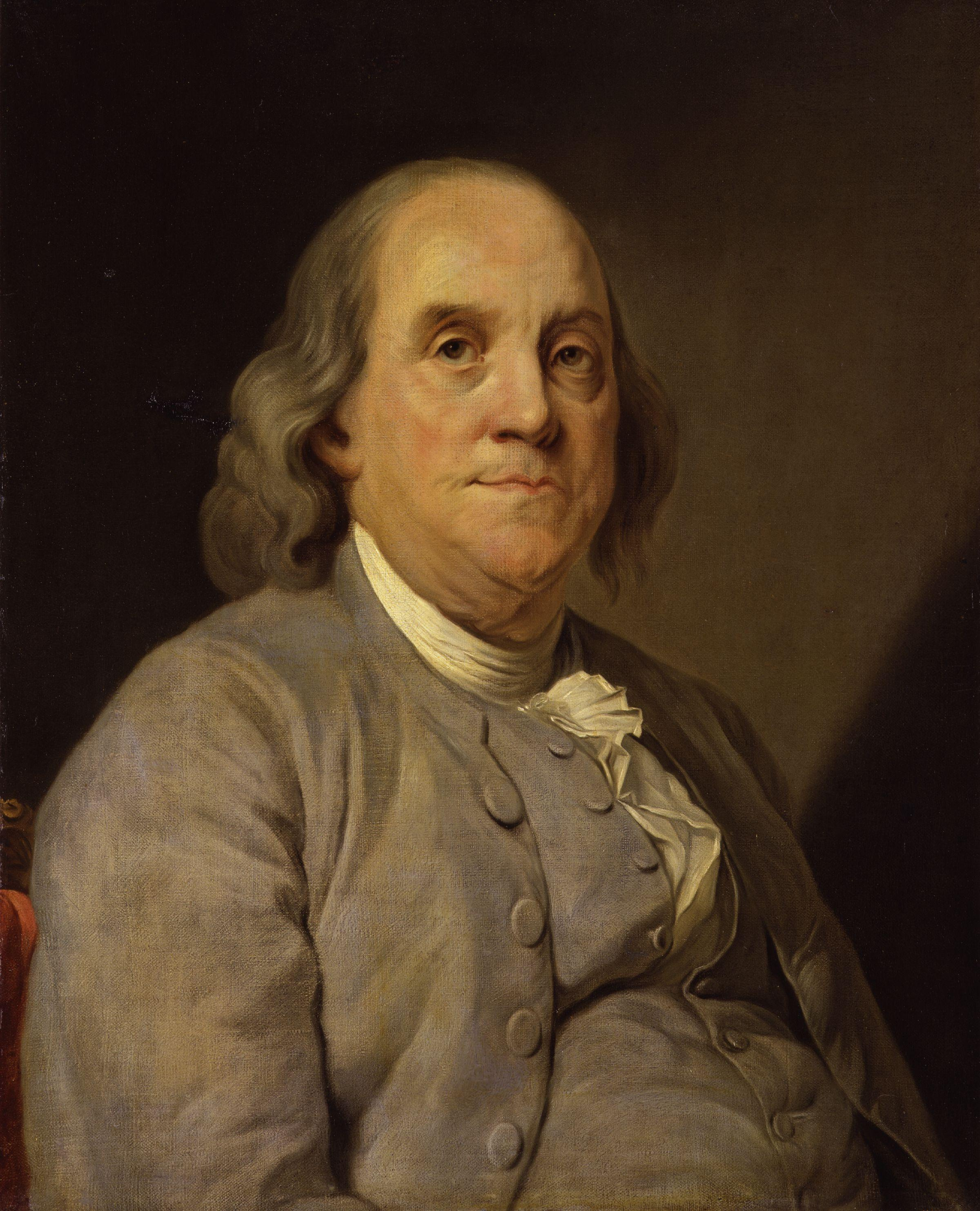 Joseph Siffrein Duplessis portrait of Benjamin Franklin c. 1785, courtesy of the National Portrait Gallery.