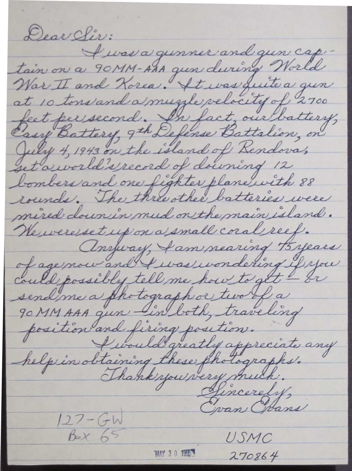 Letter from Mr. Evans