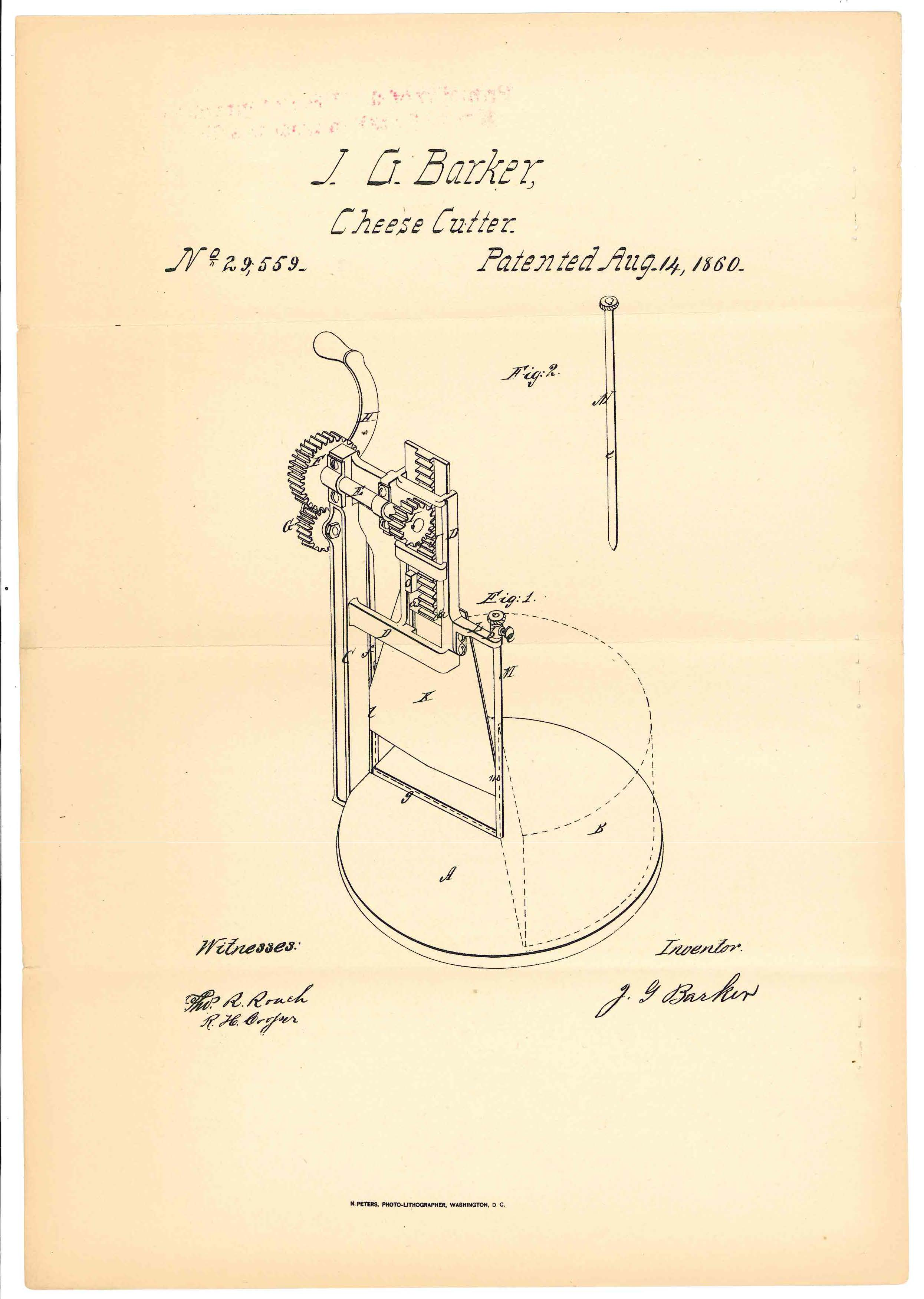 Patent for a cheese slicer, granted to J. G. Barker in 1860 (National Archives at Kansas City)