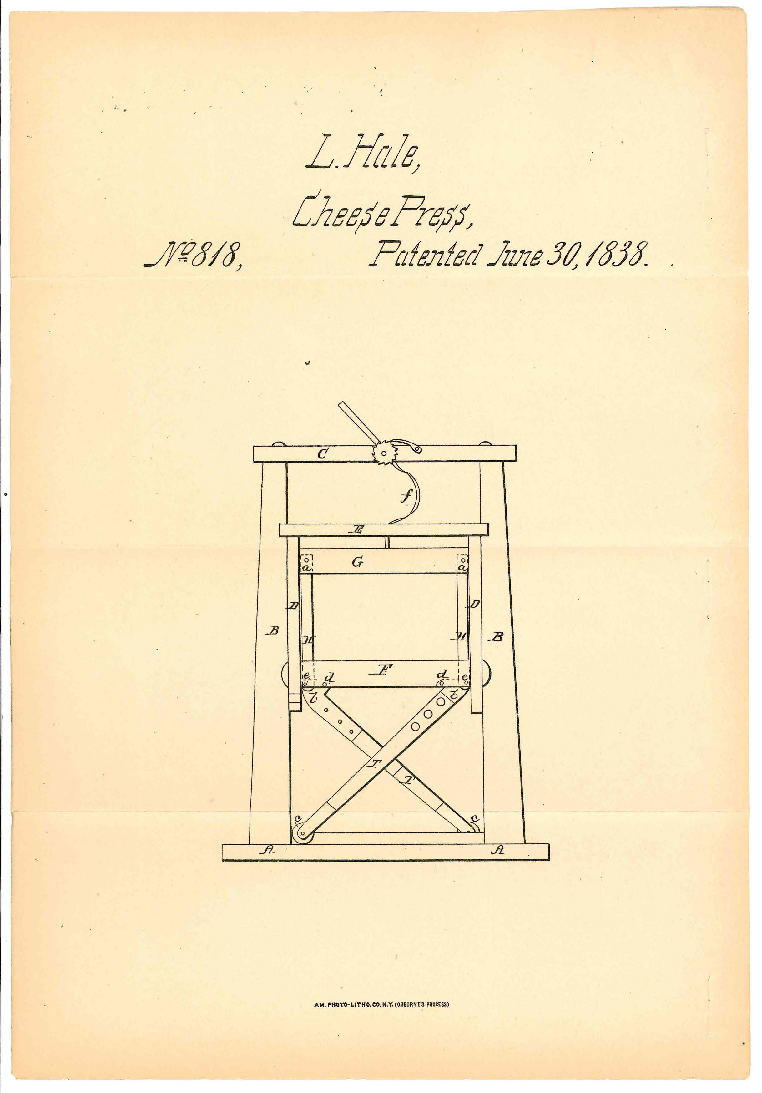 Patent for a cheese press, given to Luke Hale in June, 1838. National Archives.