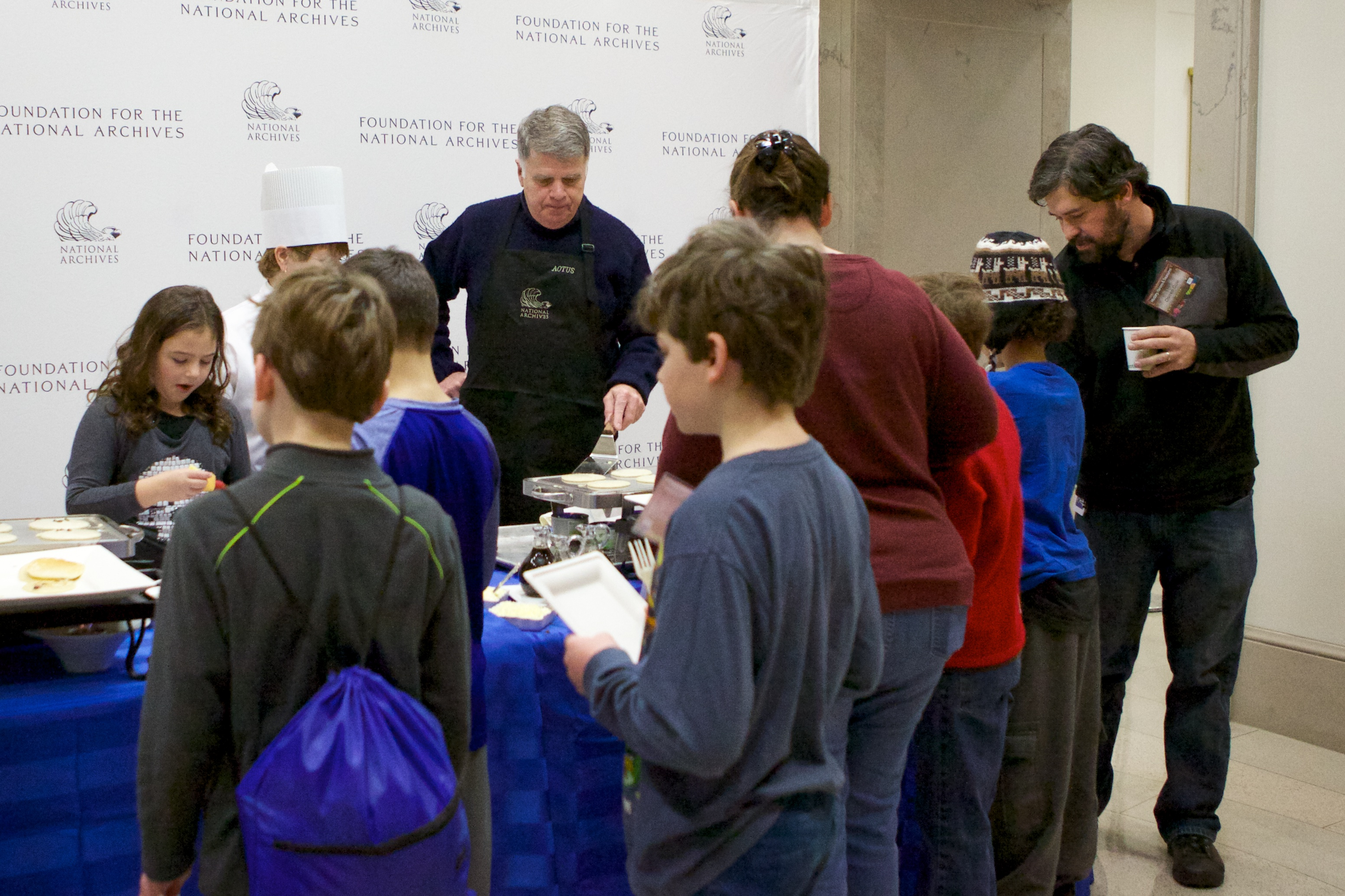 In the morning, sleepover guests enjoyed pancakes flipped by our very own Archivist David S. Ferriero.