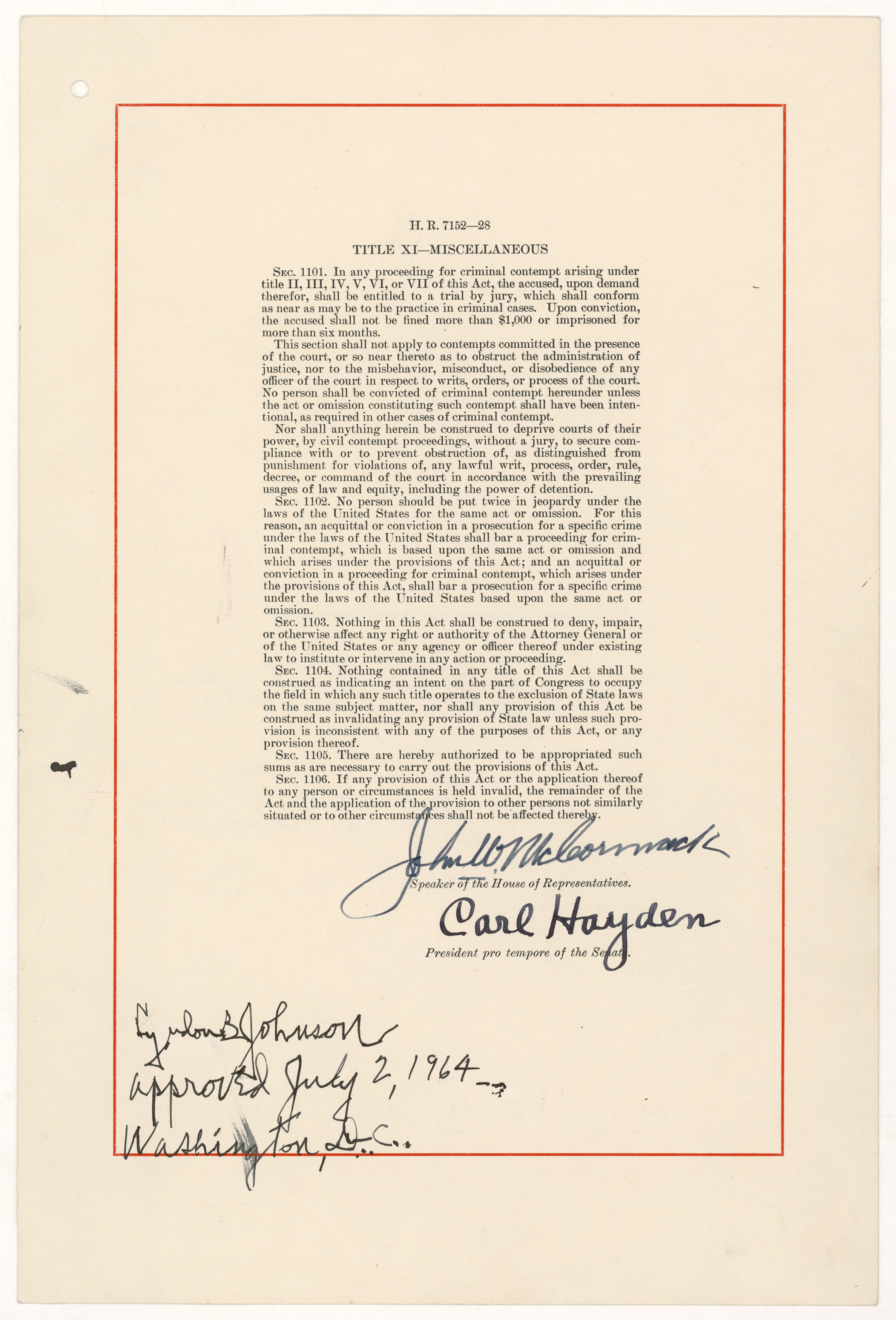 The Civil Rights Act of 1964, signature page, July 2, 1964 (National Archives Identifier 299891)