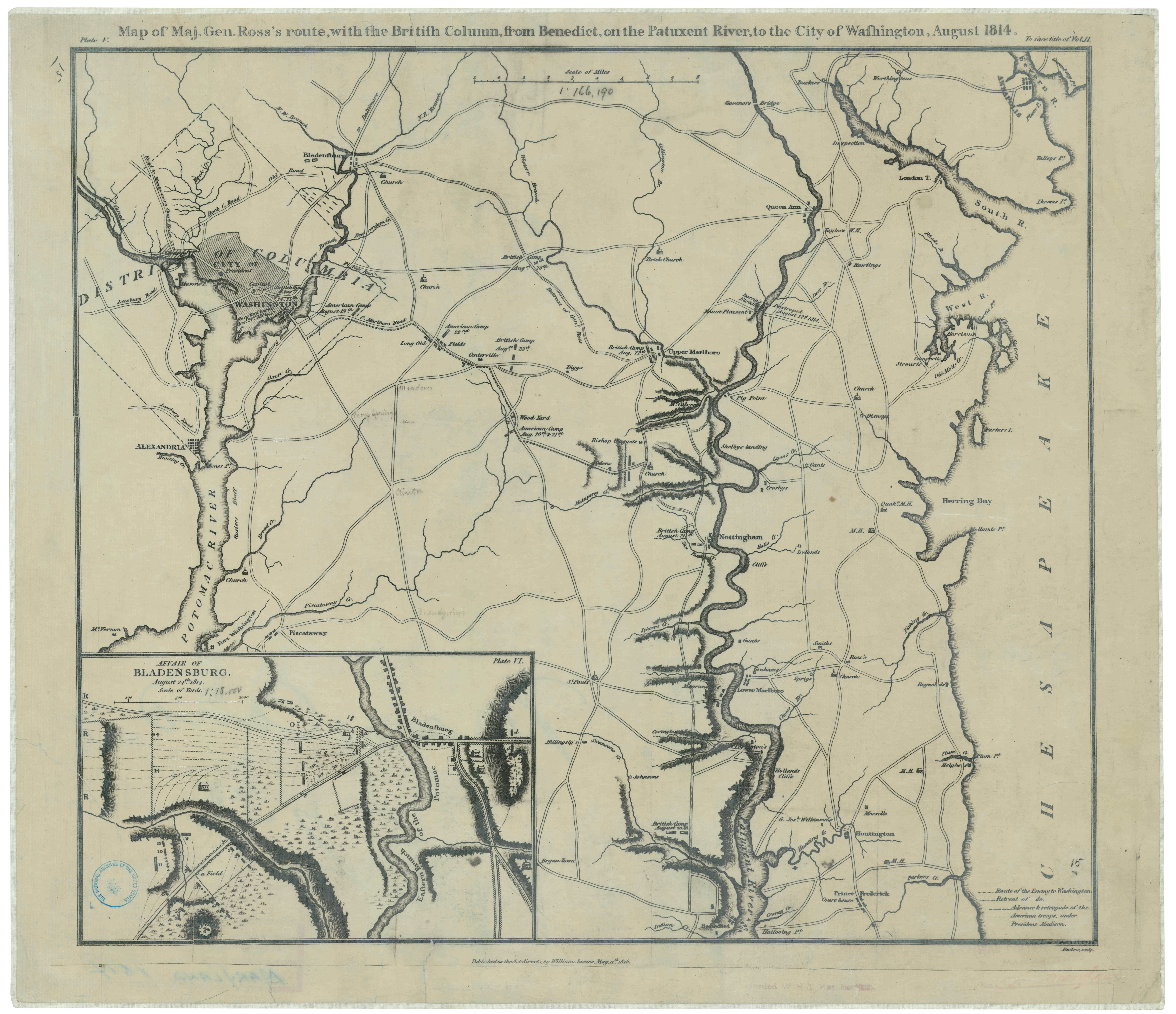 Map of Maj. Gen. Ross's route, with the British Column, from Benedict, on the Putuxant River, to the City of Washington, August 1818. (Records of the Office of the Chief of Engineers, National Archives)