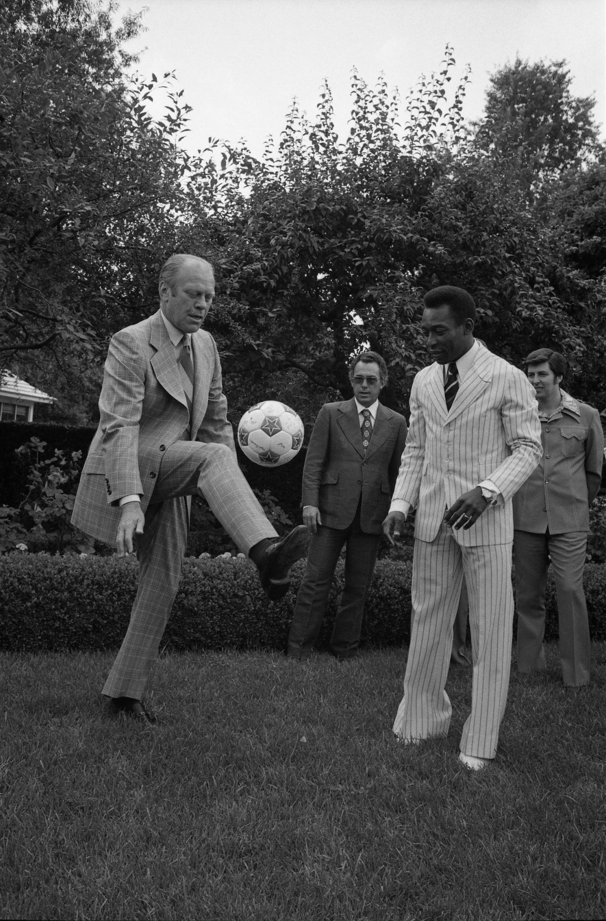 President Gerald R. Ford Juggling a Soccer Ball to Pele's Amusement, 06/28/1975. (National Archives Identifier 6829578)