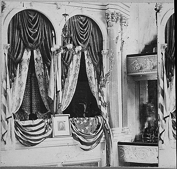 Private box in Ford's Theater where President Lincoln was assassinated by John Wilkes Booth, on the night of April 14, 1865. (National Archives Identifier 559275)