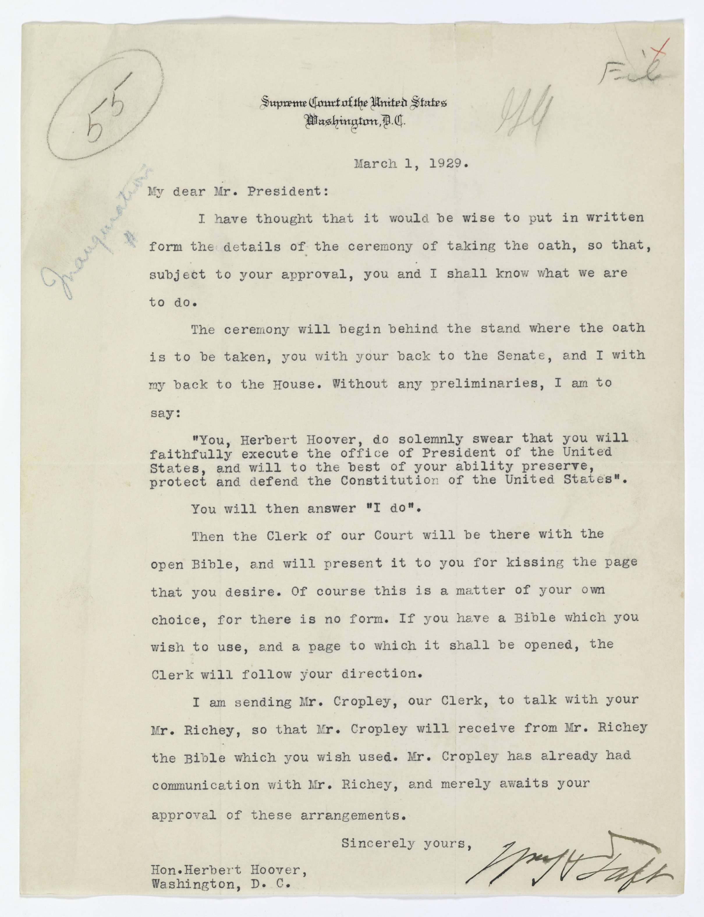 Letter from Chief Justice William Howard Taft to President Herbert Hoover Regarding the Oath of Office, 03/01/1929. (National Archives Identifier 7722952)