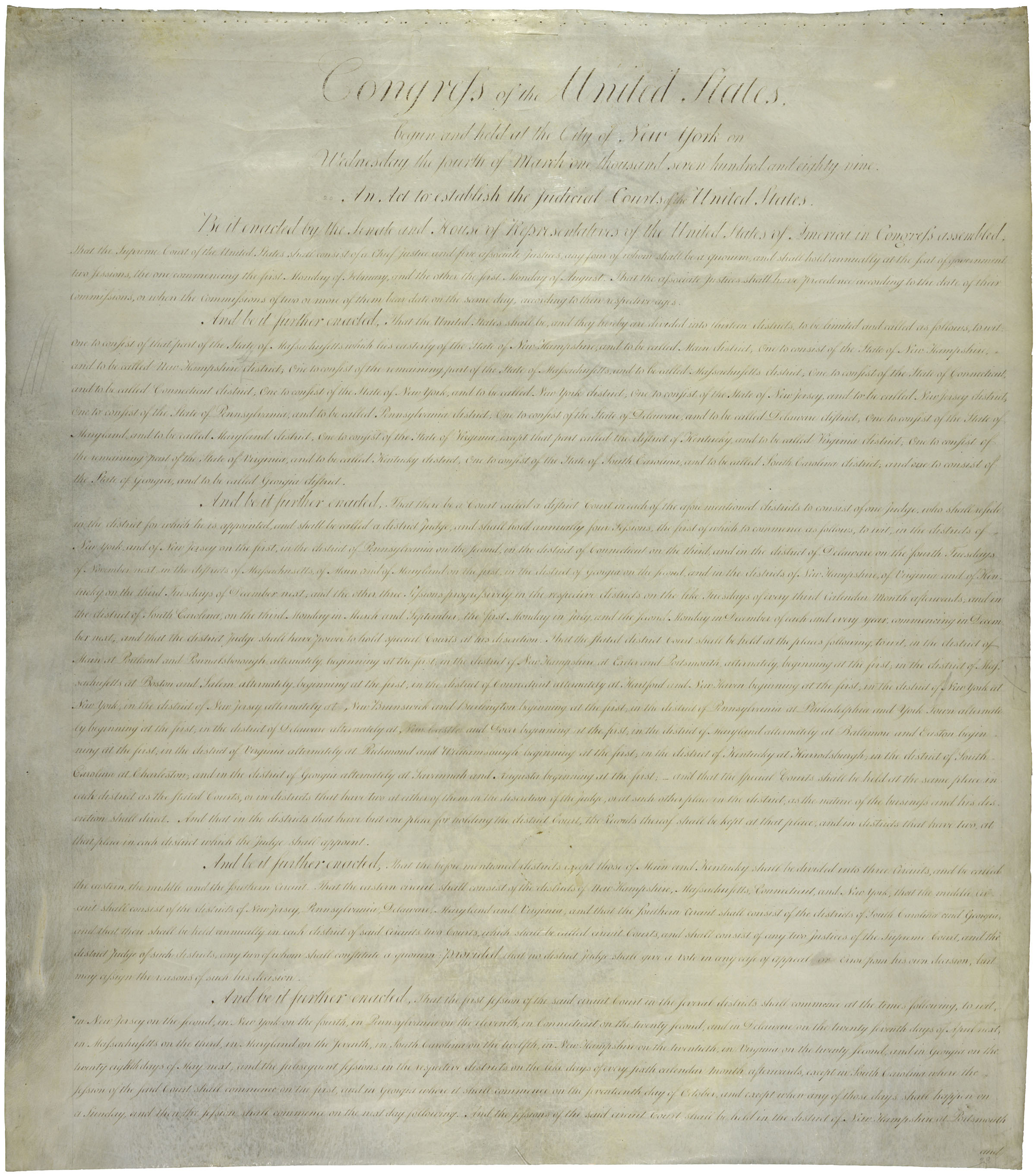 An Act to Establish the Federal Courts of the United States, 09/24/1789. (National Archives Identifier 1501550)