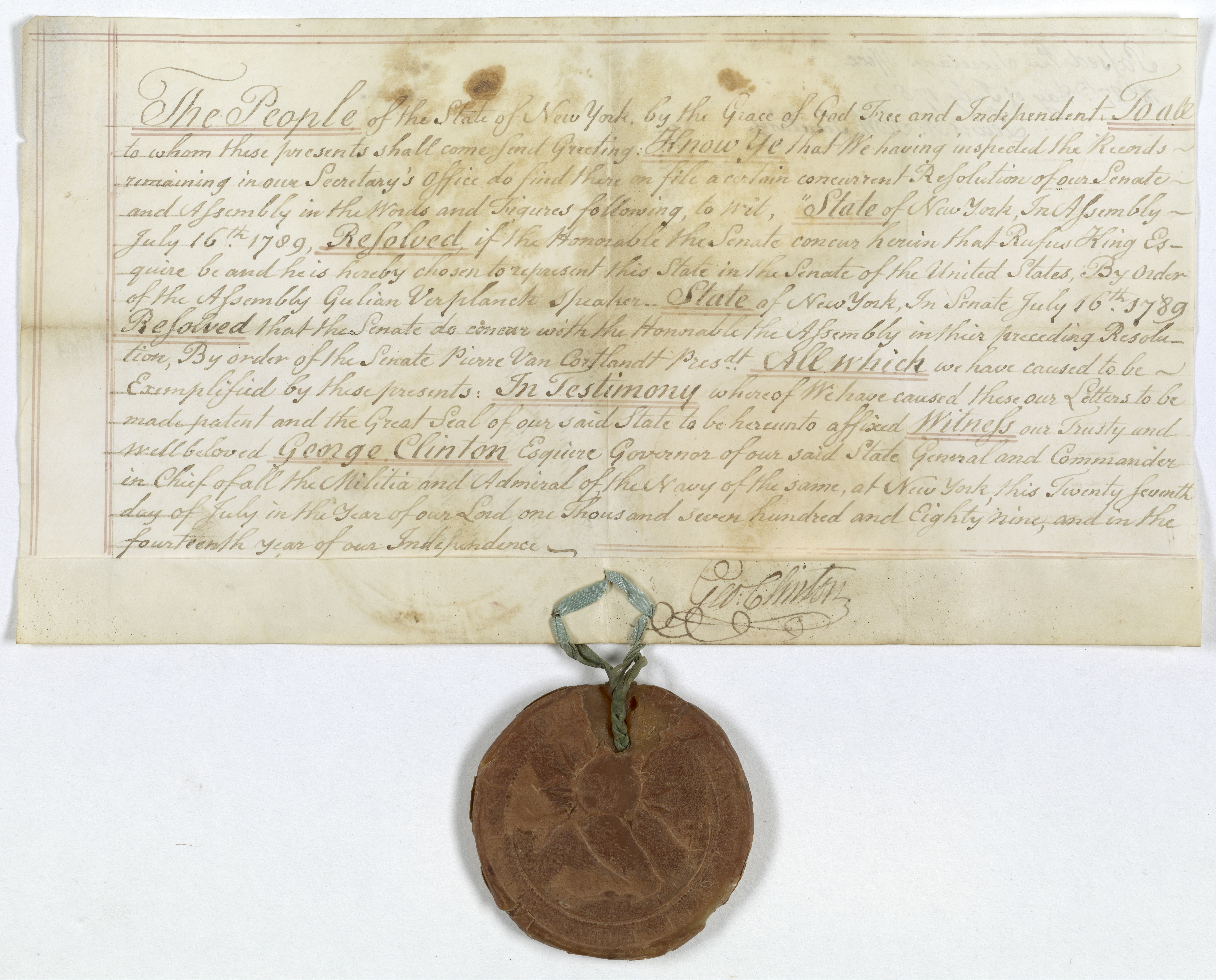 Credentials of Rufus King,  Senator from New York, July 16, 1789. (Records of the U.S. Senate, National Archives)