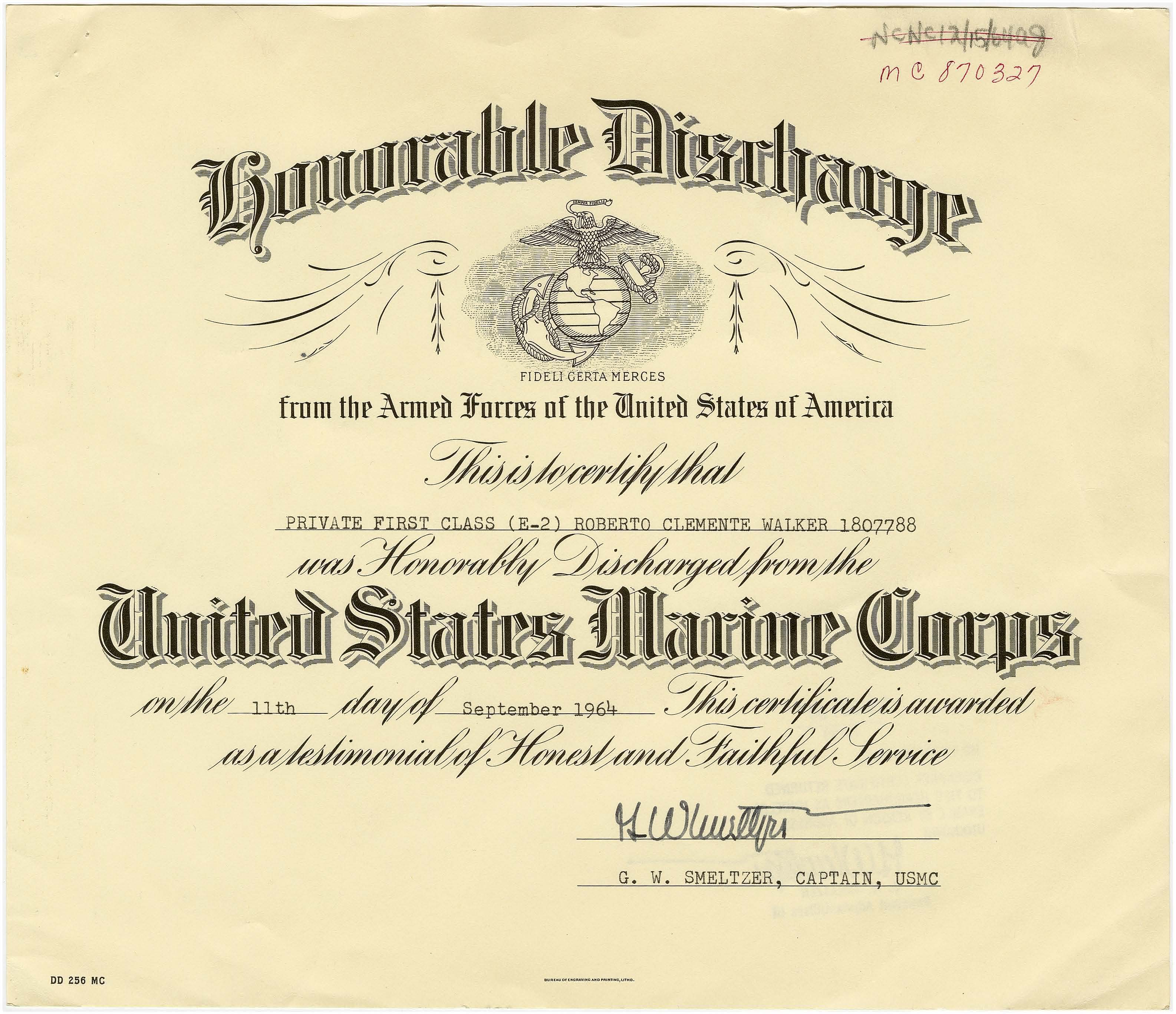 Honorable Discharge 09/11/1964  National Archives Identifier: 7329770