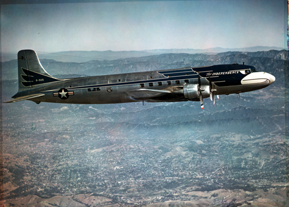 President Harry S. Truman's Presidential airplane, the Independence, in flight over an unknown location. 1950