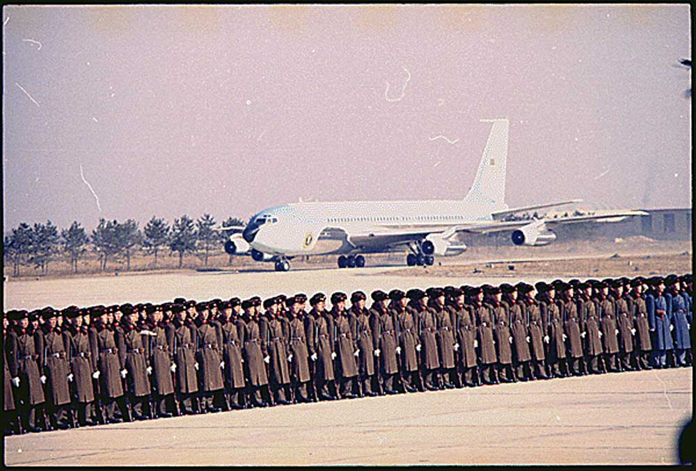 Arrival of Air Force One in Peking, China. 2/21/1972