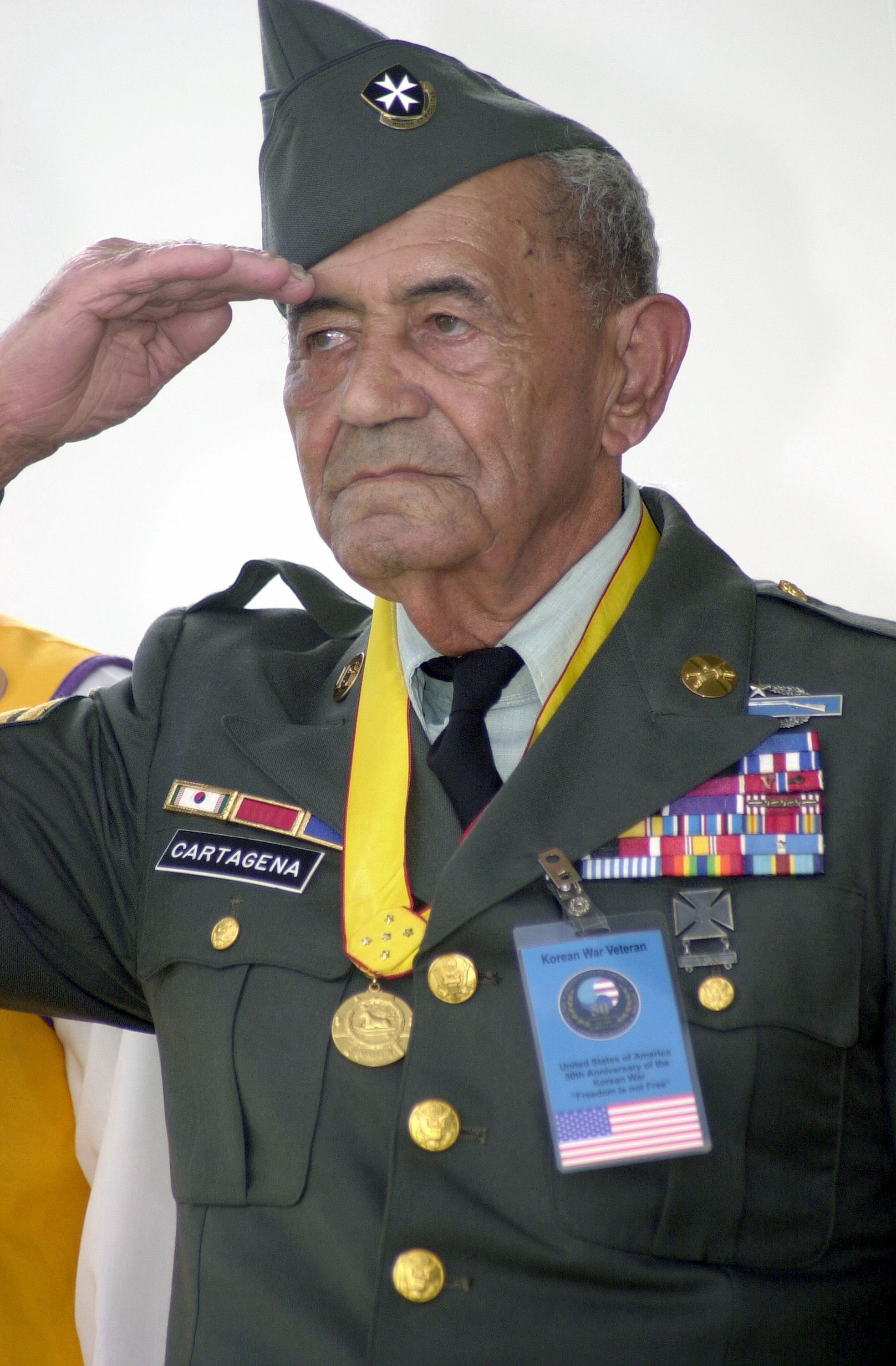 Korean War veteran, Sgt. 1st Class (ret) Modesto Cartagena, 12/02/2000. (National Archives Identifier: 6519402)