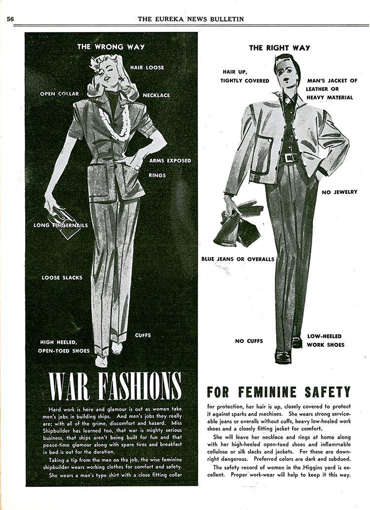 Women's Work Safety Fashion Bulletin, October 1942. (National Archives at Atlanta)