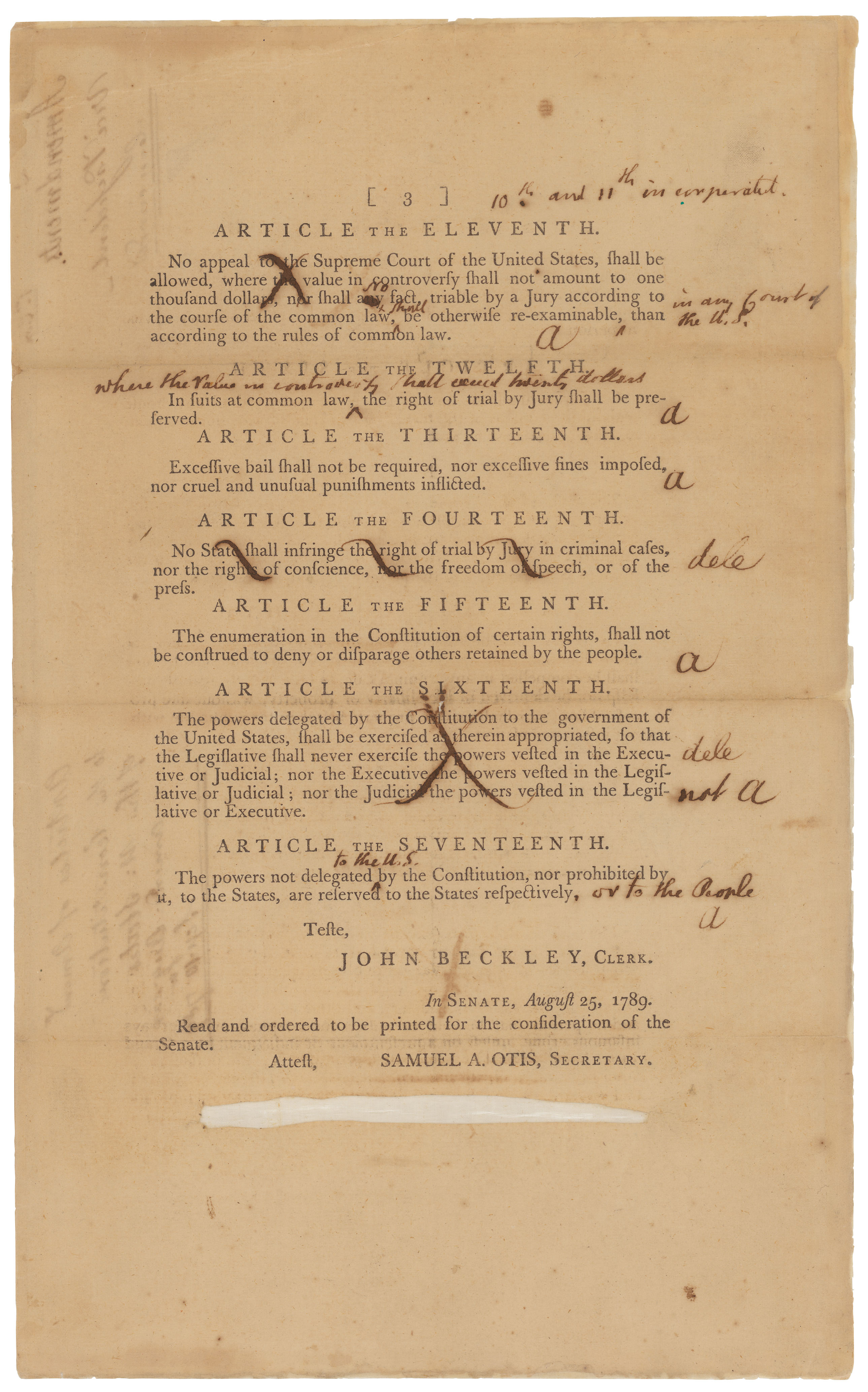 Senate Revisions to the Proposed Bill of Rights, page 3, 9/9/1789. (National Archives Identifier 3535588)