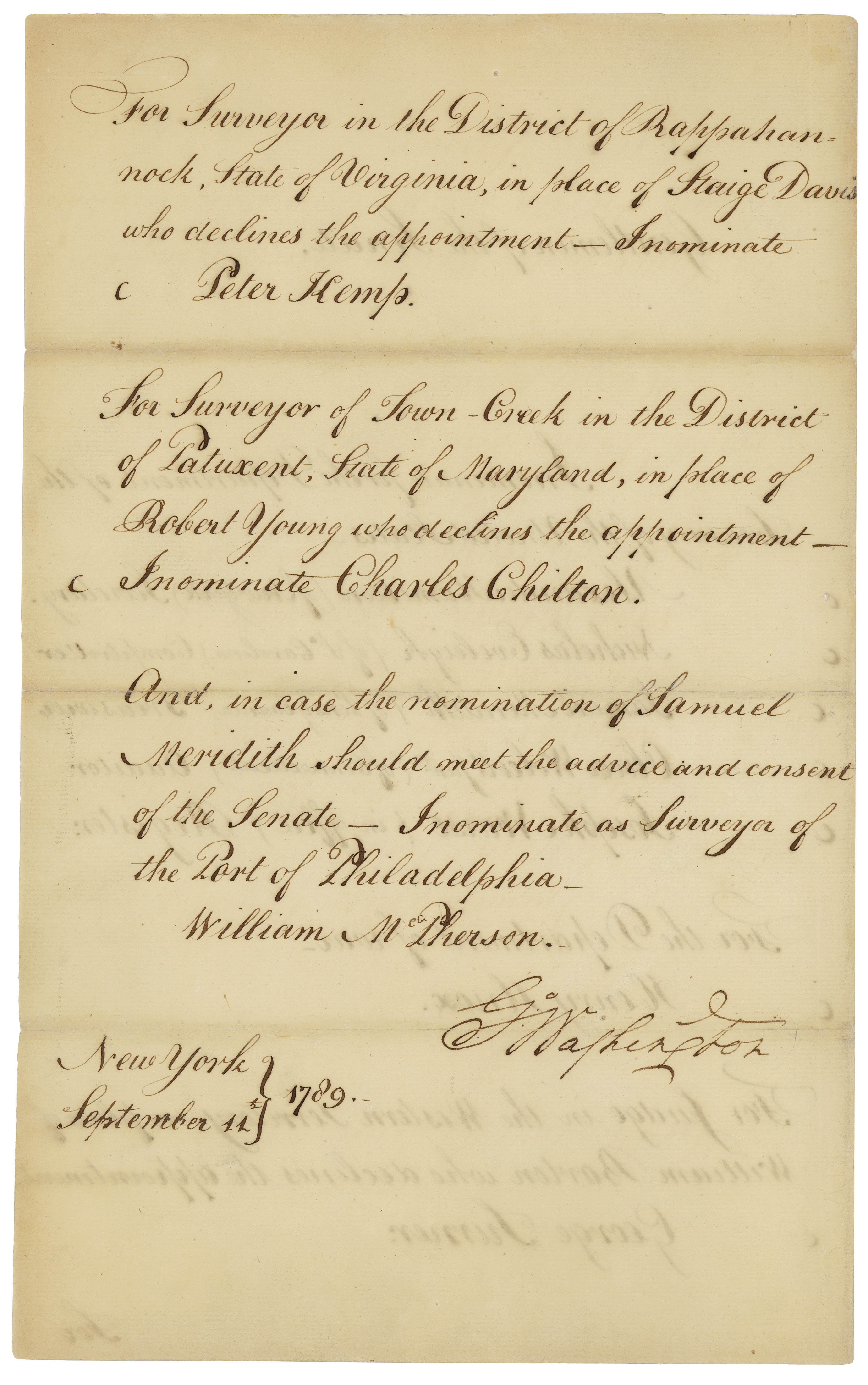 George Washington's nomination of Alexander Hamilton and others, back, September 11, 1789. (Records of the U.S. Senate, National Archives)