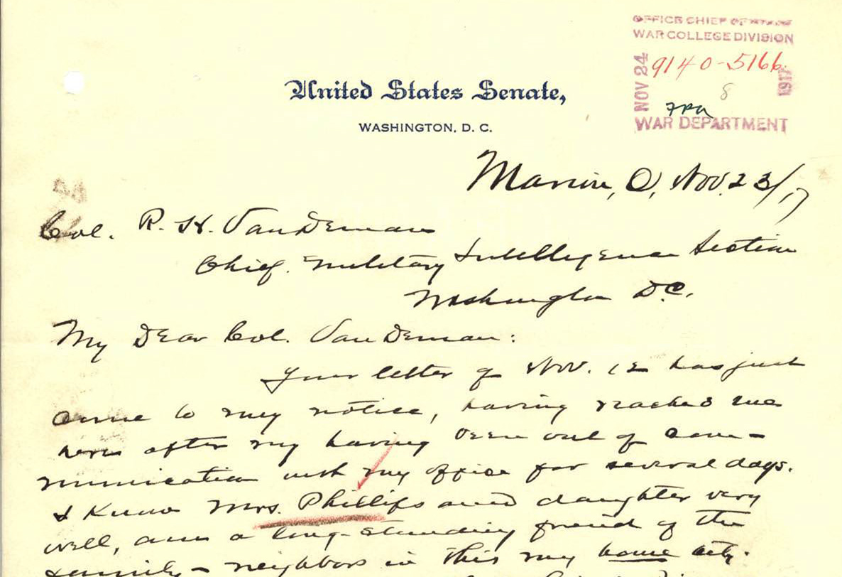 Excerpt from Senator Harding's reply to the Chief of the Military Section, November 23, 1917. (Records of the ... , Record Group ...)