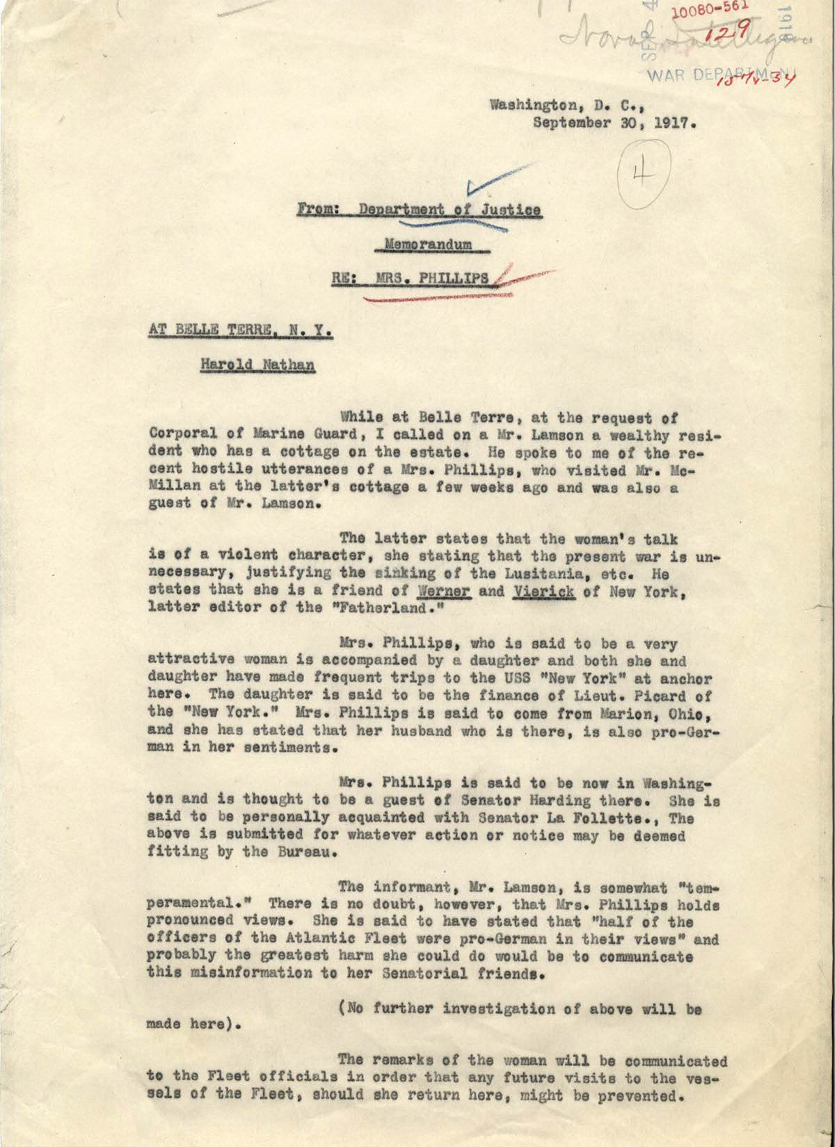 Department of Justice memorandum concerning Mrs. Phillips's pro-German sentiments. (Records of the ..., Record Group ..)