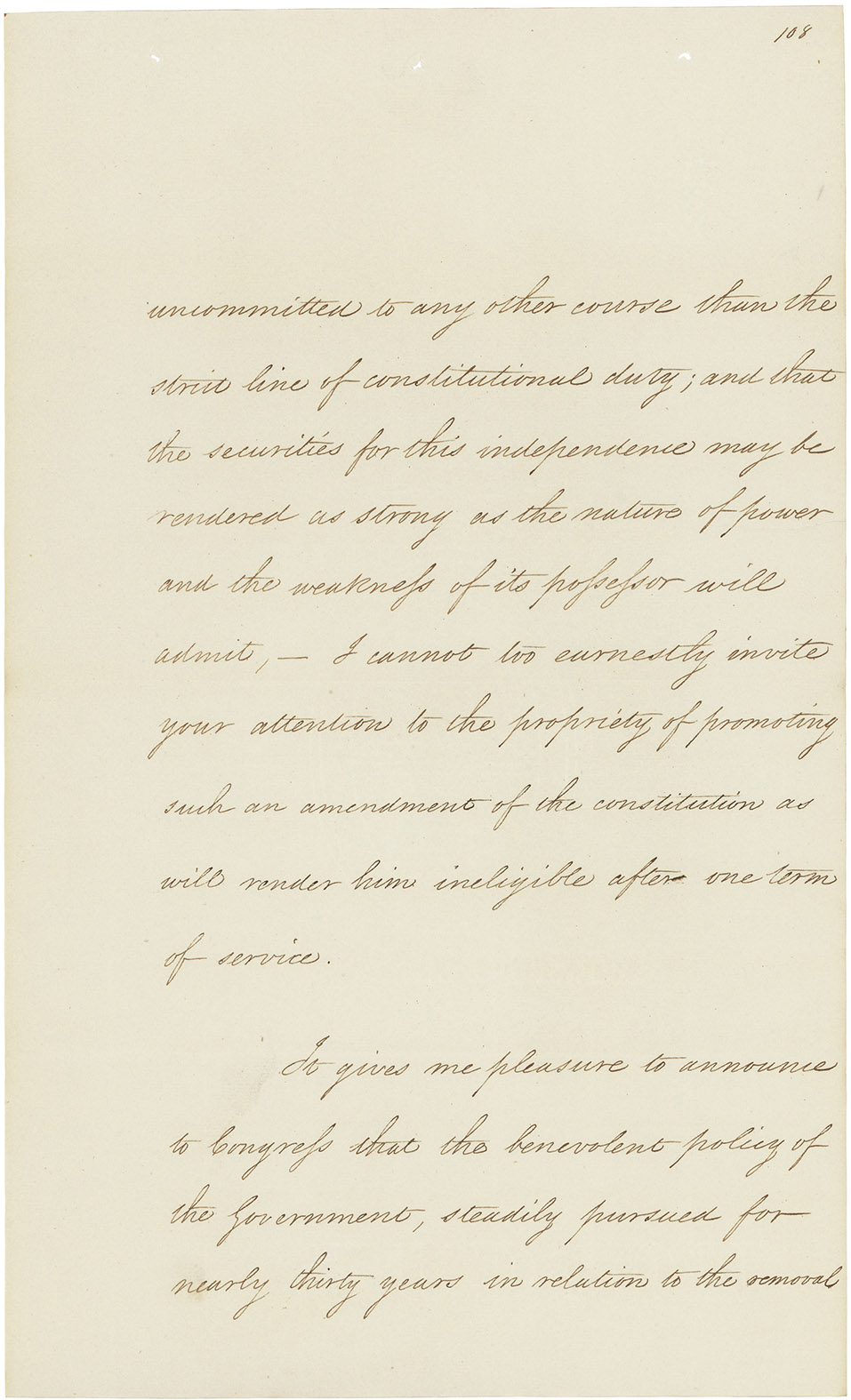 Andrew Jackson Message to Congress, December 6, 1830 (Records of the United States Senate, RG 46)