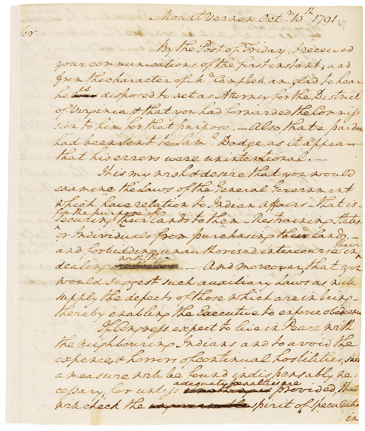 Letter from George Washington to Edmund Randolph, October 10, 1791 (General Records of the Department of State. RG 59)