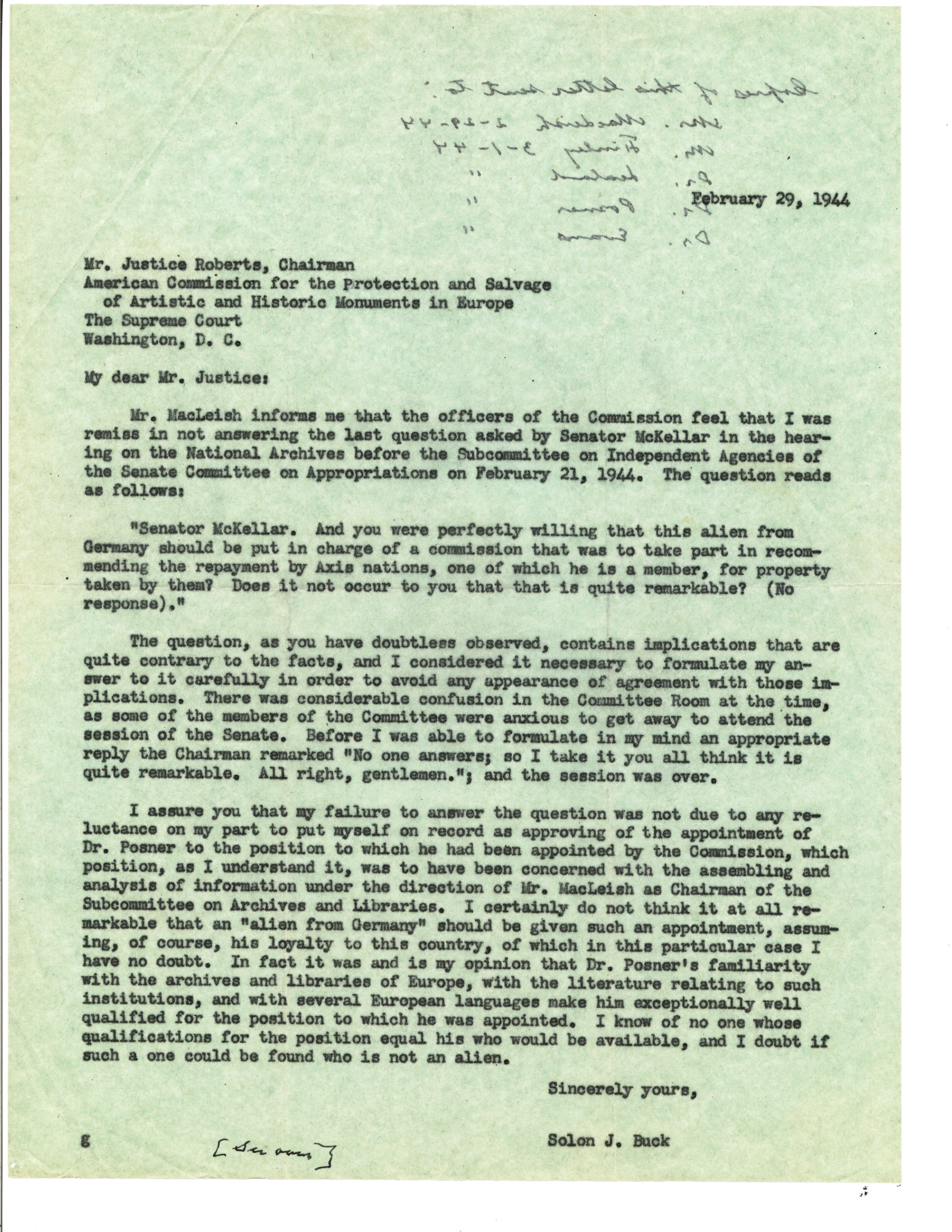 Letter from Solon Buck to Justice Roberts, 2/29/1944. (Records of the National Archives)