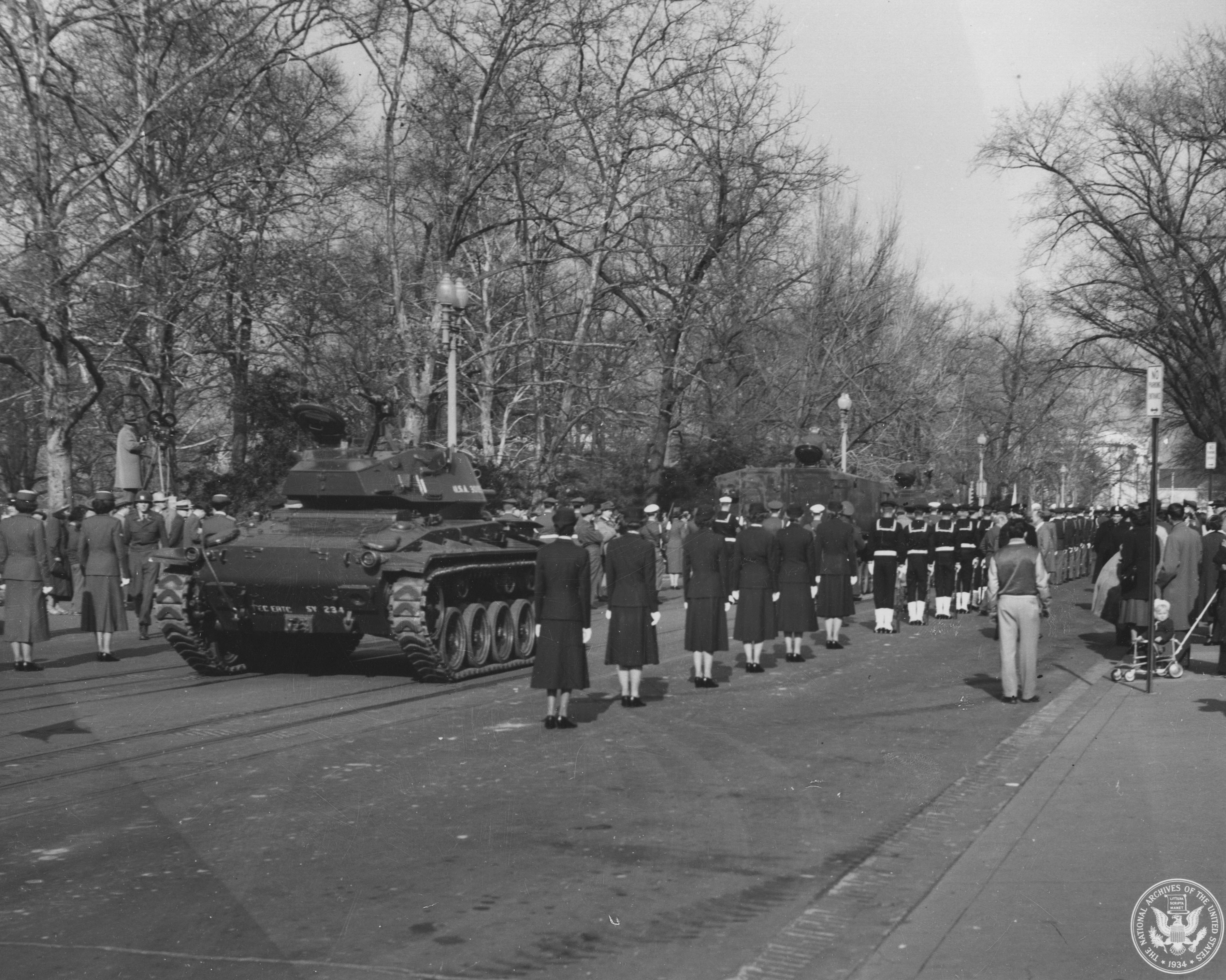 Procession Transferring documents to the National Archives, December 13, 1952. (Records of the National Archives)